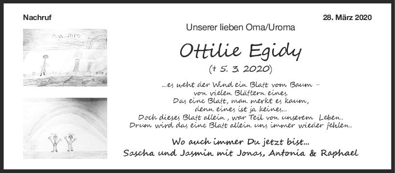 Nachruf Ottilie Egidy <br><p style=
