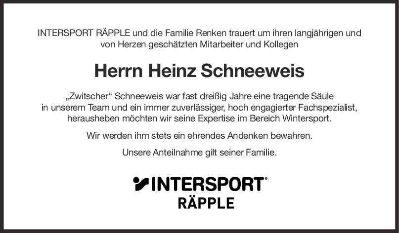 Nachruf Heinz Schneeweis <br><p style=
