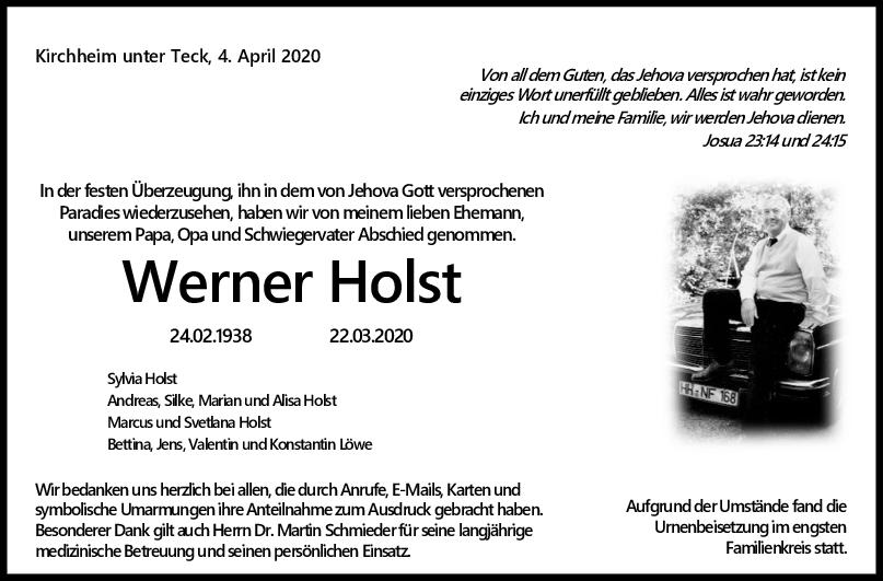Trauer Werner Holst <br><p style=