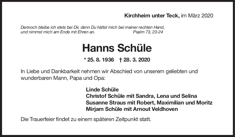 """Trauer Hanns-Karl Schüle <br><p style=""""font-size: 10px; text-align: center;"""">31/03/2020</p>"""