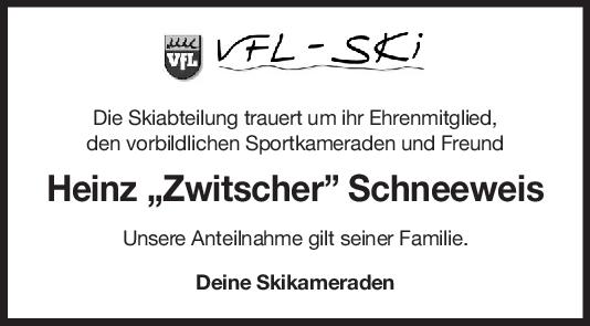 "Nachruf Heinz Schneeweis <br><p style=""font-size: 10px; text-align: center;"">31/03/2020</p>"