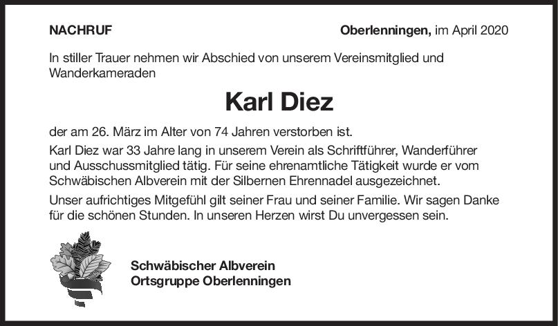 "Nachruf Karl Diez <br><p style=""font-size: 10px; text-align: center;"">04/04/2020</p>"
