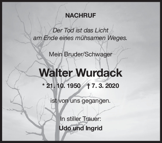"""Nachruf Walter Wurdack <br><p style=""""font-size: 10px; text-align: center;"""">04/04/2020</p>"""