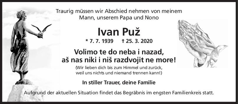 "Trauer Ivan Puz <br><p style=""font-size: 10px; text-align: center;"">01/04/2020</p>"