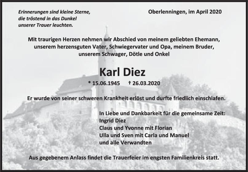 Trauer Karl Diez <br><p style=