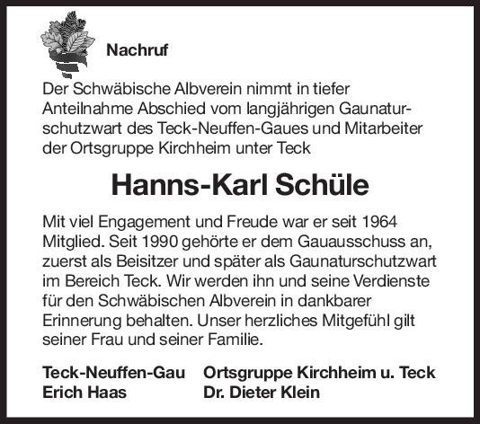 Nachruf Hanns-Karl Schüle <br><p style=