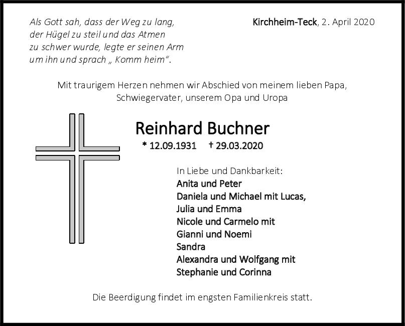 Trauer Reinhard Buchner <br><p style=