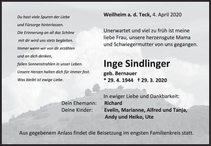 Trauer Inge Sindlinger <br><p style=
