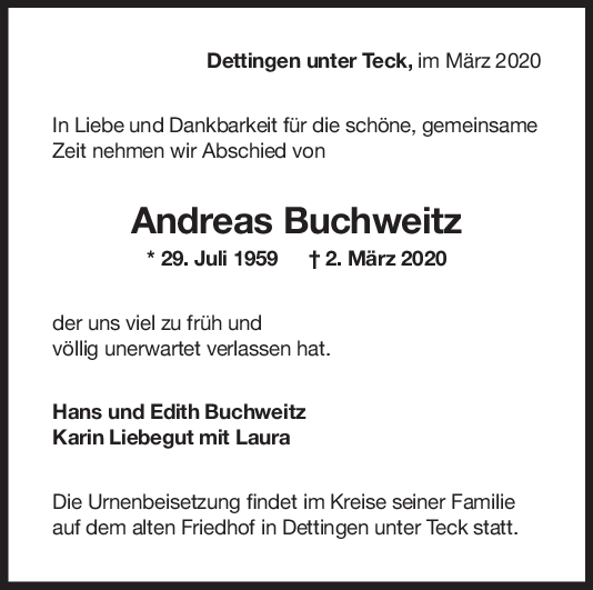 """Trauer Andreas Buchweitz <br><p style=""""font-size: 10px; text-align: center;"""">04/04/2020</p>"""