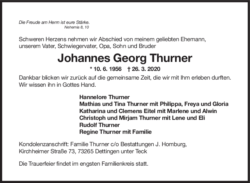 Trauer Johannes Georg Thurner <br><p style=