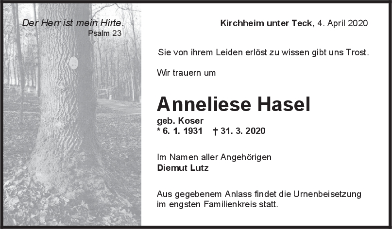 Trauer Anneliese Hasel <br><p style=