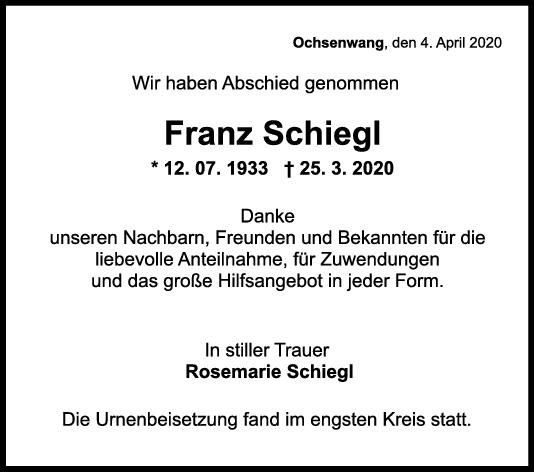 Trauer Franz Schiegl <br><p style=