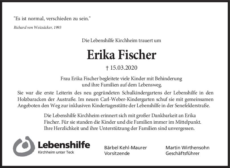 Nachruf Erika Fischer <br><p style=