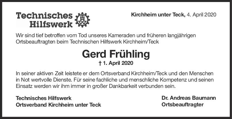 Nachruf Gerd Frühling <br><p style=
