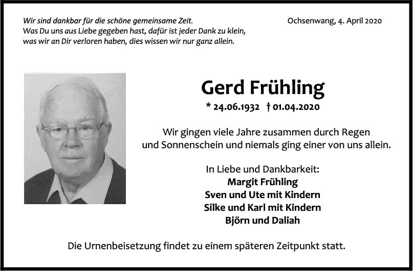 Trauer Gerd Frühling <br><p style=