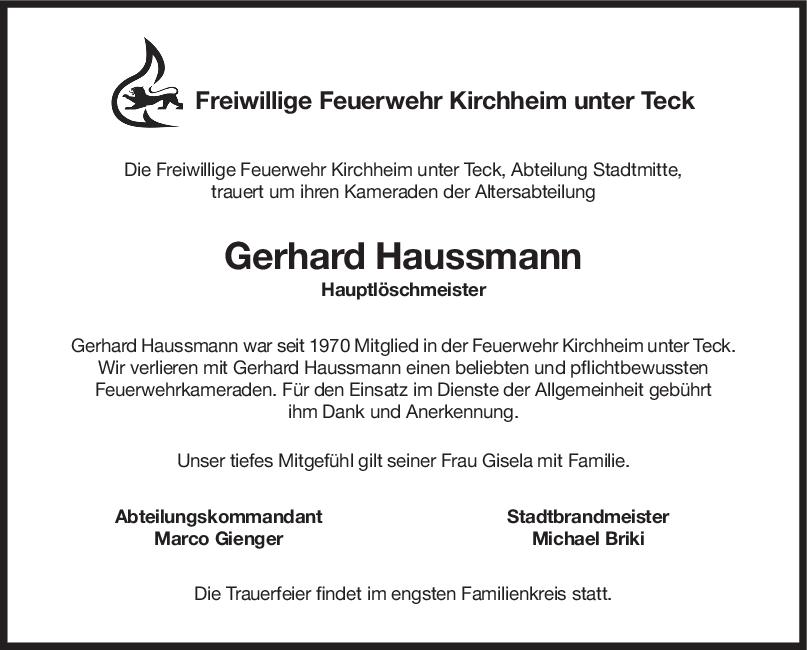 Nachruf Gerhard Haussmann <br><p style=