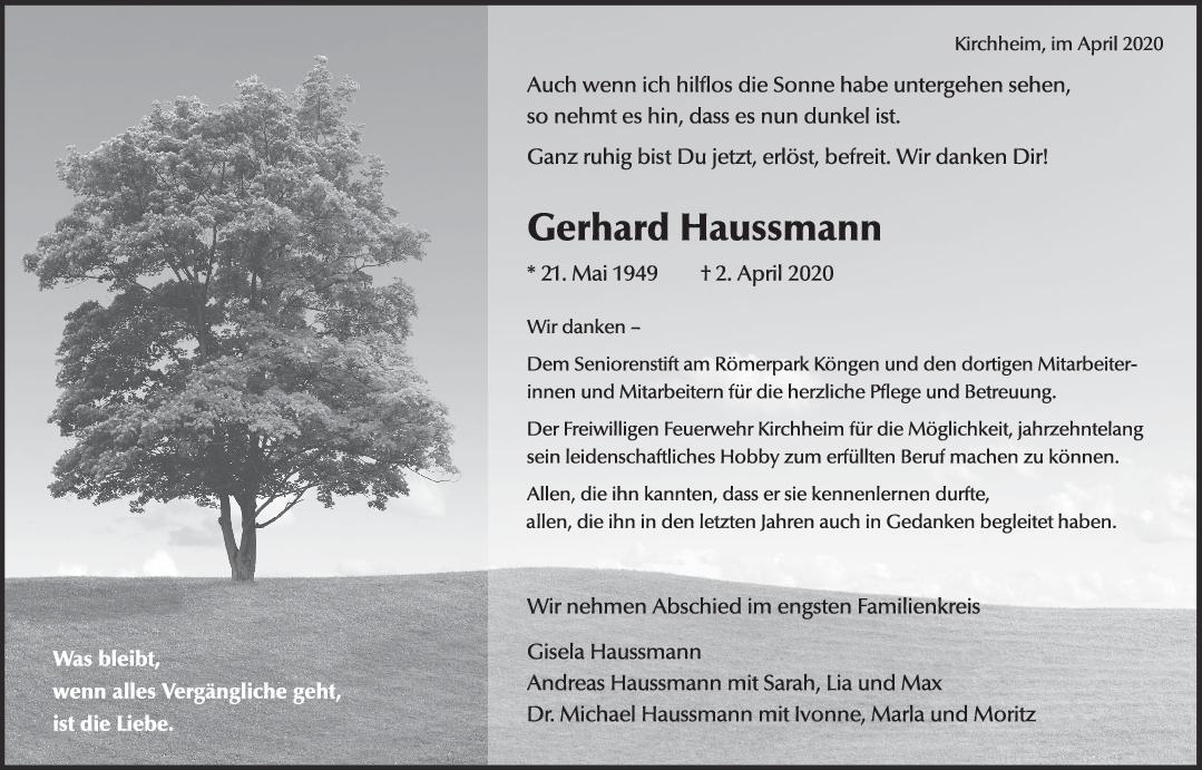 Trauer Gerhard Haussmann <br><p style=