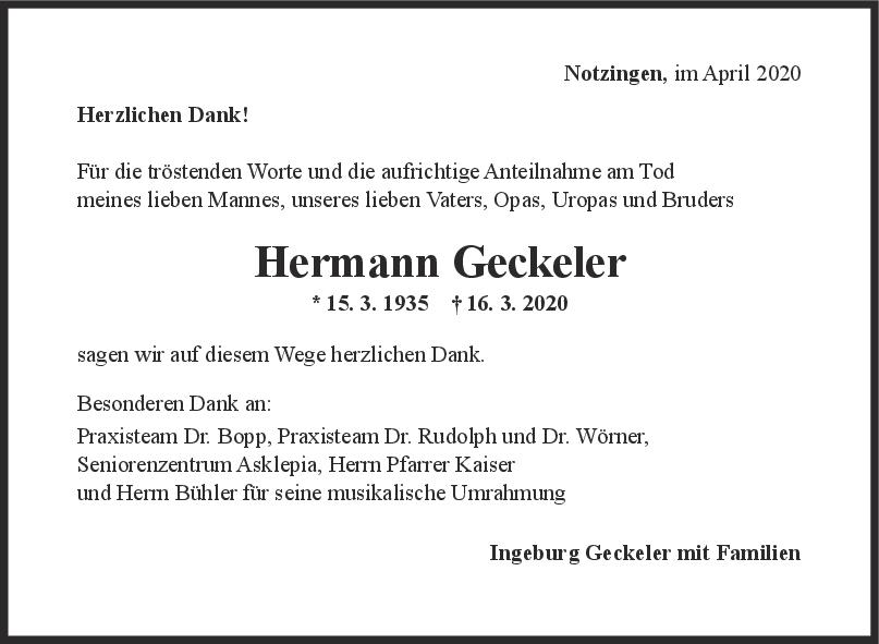 Danksagung Hermann Geckeler <br><p style=
