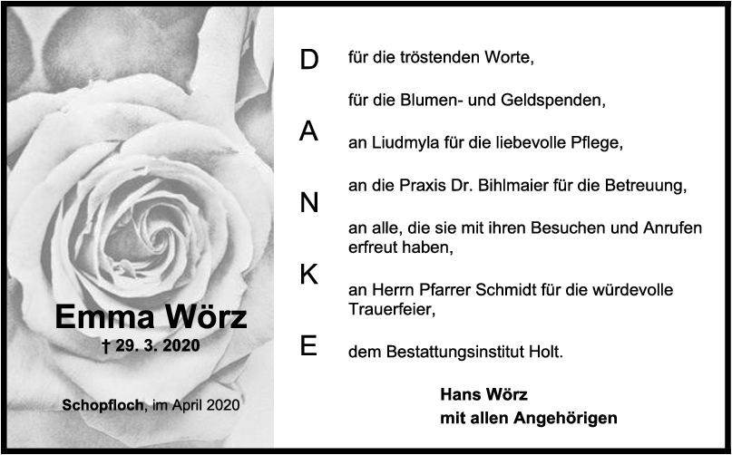 Danksagung Emma Wörz <br><p style=