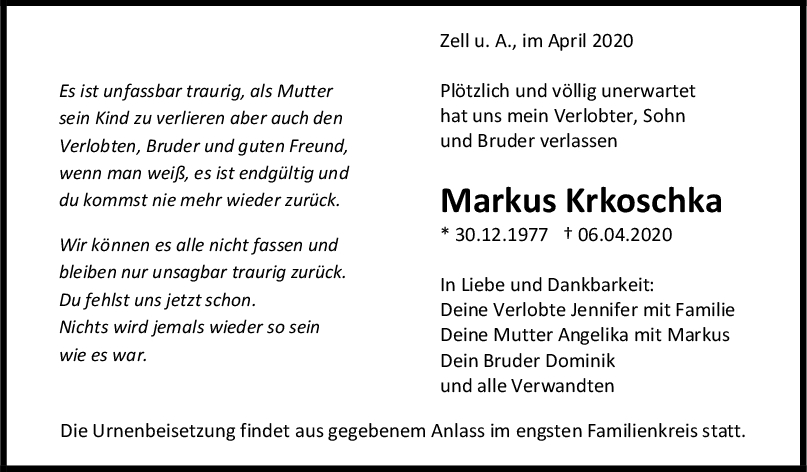"Trauer Markus Krkoschka <br><p style=""font-size: 10px; text-align: center;"">11/04/2020</p>"