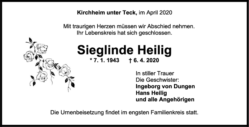 """Trauer Sieglinde Heilig <br><p style=""""font-size: 10px; text-align: center;"""">11/04/2020</p>"""