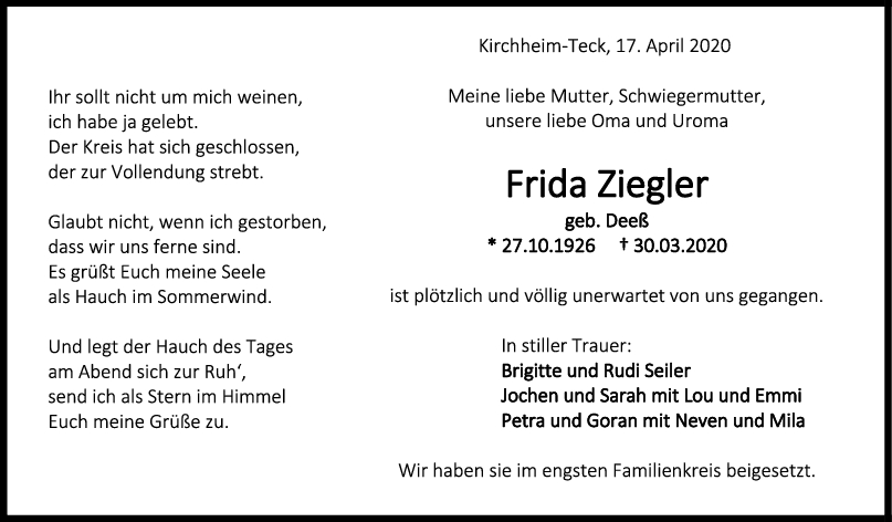 Trauer Frida Ziegler <br><p style=