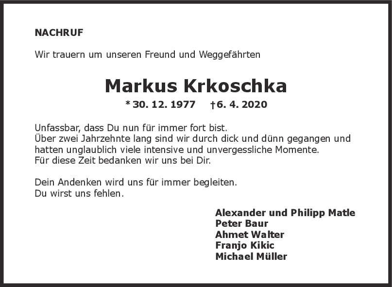 Nachruf Markus Krkoschka <br><p style=