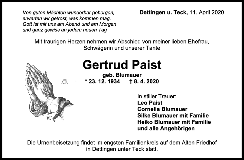 """Trauer Gertrud Paist <br><p style=""""font-size: 10px; text-align: center;"""">11/04/2020</p>"""
