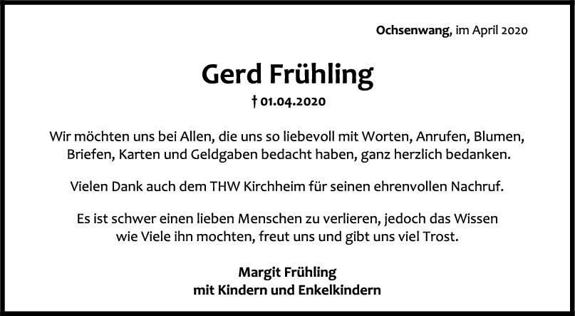 Danksagung Gerd Frühling <br><p style=