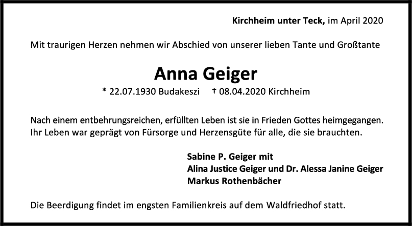 Trauer Anna Geiger <br><p style=