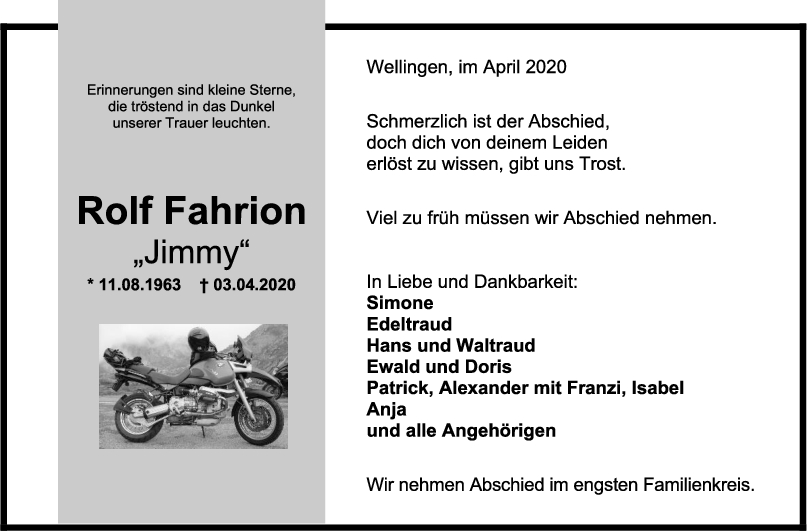 """Trauer Rolf Fahrion <br><p style=""""font-size: 10px; text-align: center;"""">15/04/2020</p>"""