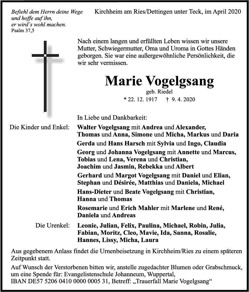 """Trauer Marie Vogelsang <br><p style=""""font-size: 10px; text-align: center;"""">15/04/2020</p>"""