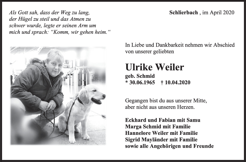 """Trauer Ulrike Weiler <br><p style=""""font-size: 10px; text-align: center;"""">18/04/2020</p>"""
