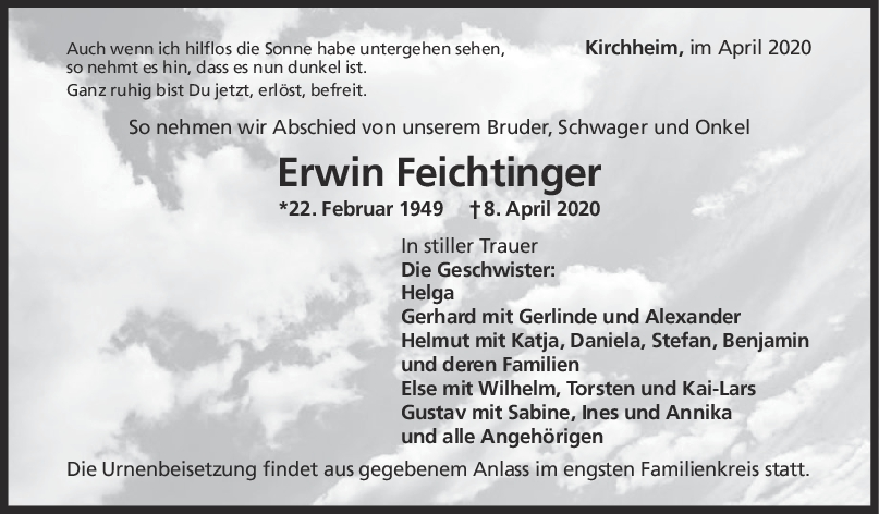 Trauer Erwin Feichtinger <br><p style=