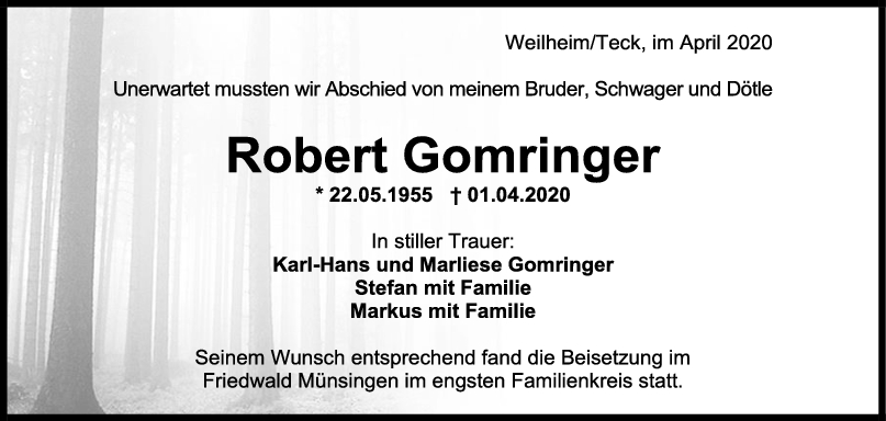 Trauer Robert Gomringer <br><p style=