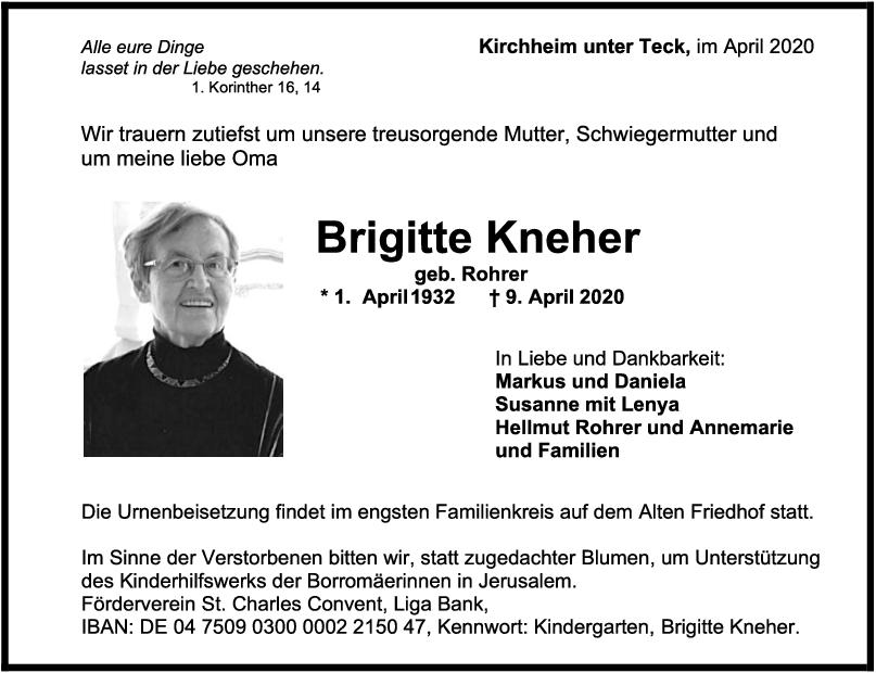 "Trauer Brigitte Kneher <br><p style=""font-size: 10px; text-align: center;"">18/04/2020</p>"