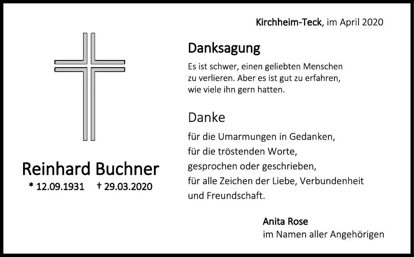 Danksagung Reinhard Buchner <br><p style=