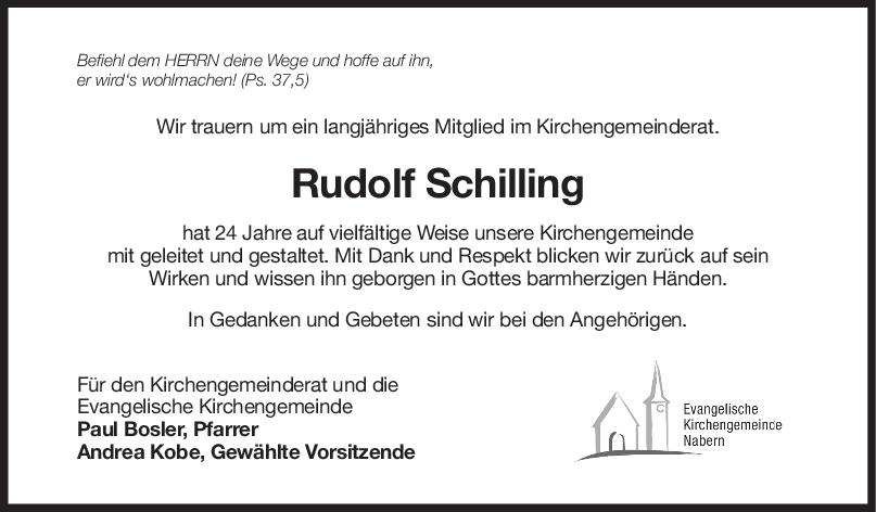 Nachruf Rudolf Schilling <br><p style=