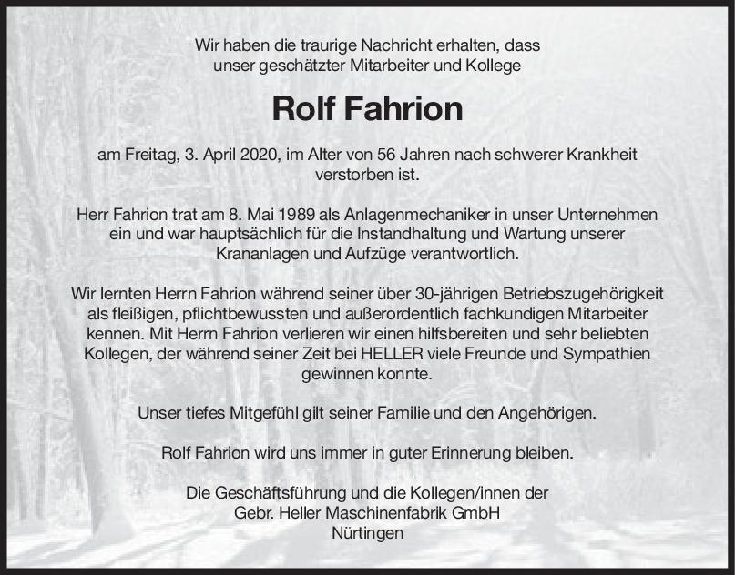 Nachruf Rolf Fahrion <br><p style=