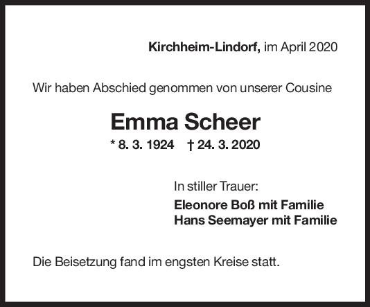 Nachruf Emma Scheer <br><p style=