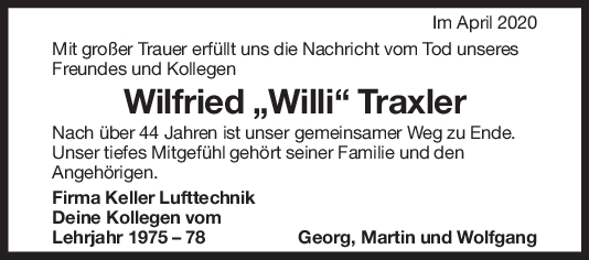 """Nachruf Wilfried Traxler <br><p style=""""font-size: 10px; text-align: center;"""">18/04/2020</p>"""