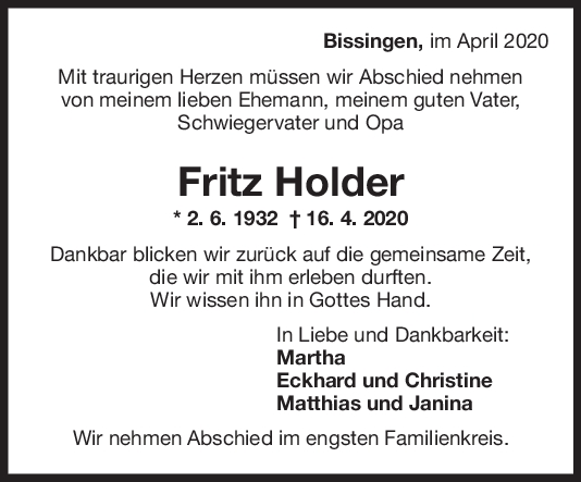 Trauer Fritz Holder <br><p style=
