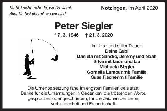 "Trauer Peter Siegler <br><p style=""font-size: 10px; text-align: center;"">25/04/2020</p>"