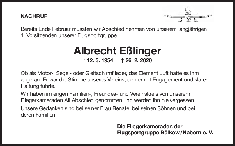 "Nachruf Albert Eßlinger <br><p style=""font-size: 10px; text-align: center;"">22/04/2020</p>"