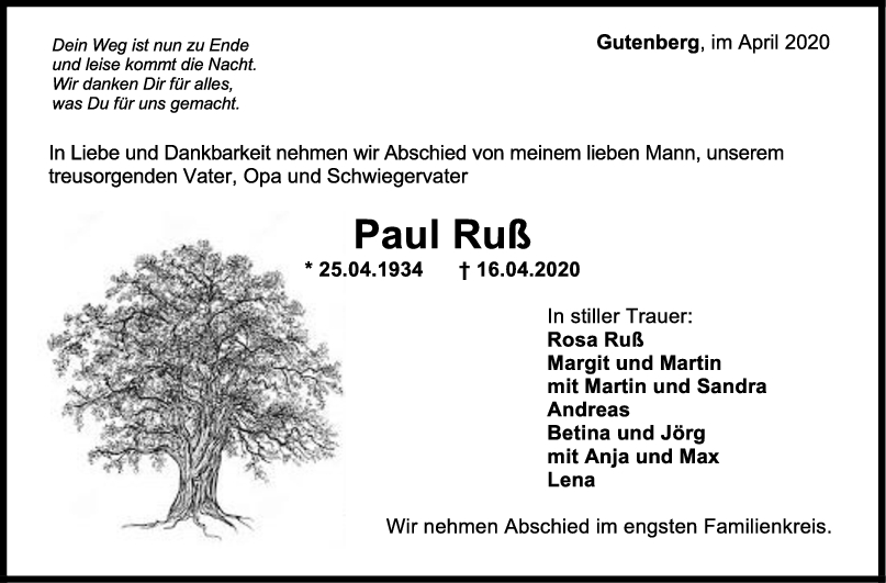 Trauer Paul Ruß <br><p style=