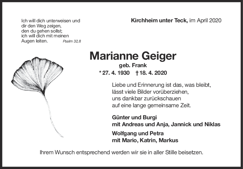 """Trauer Marianne Geiger <br><p style=""""font-size: 10px; text-align: center;"""">22/04/2020</p>"""