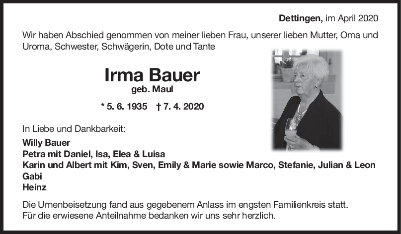 Trauer Irma Bauer <br><p style=