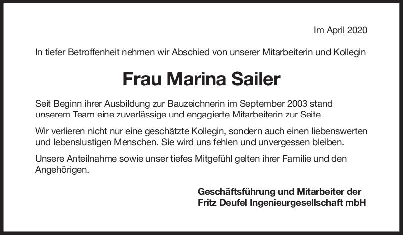 Nachruf Marina Sailer <br><p style=