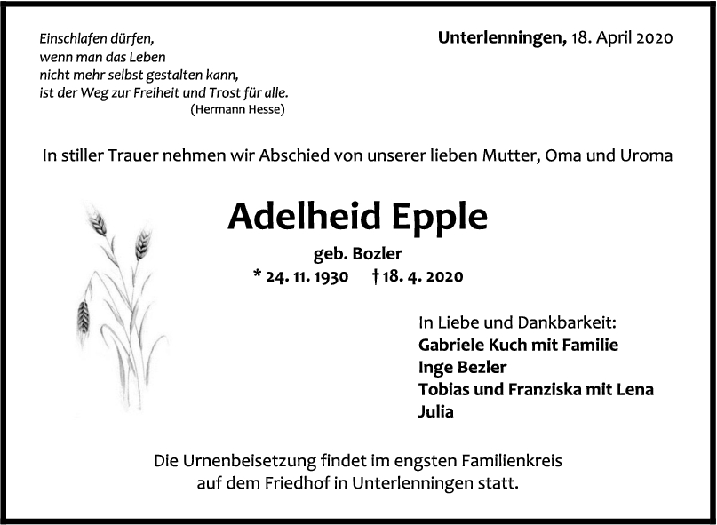 """Trauer Adelheid Epple <br><p style=""""font-size: 10px; text-align: center;"""">22/04/2020</p>"""