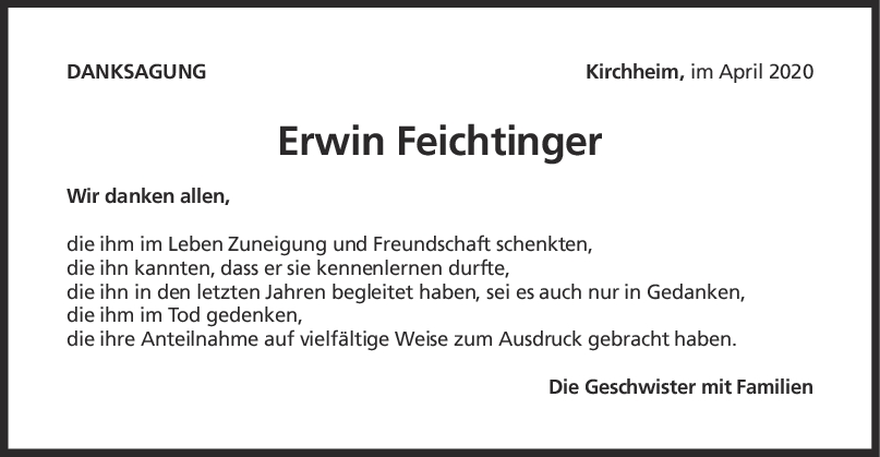 Danksagung Erwin Feichtinger <br><p style=